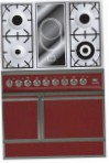 ILVE QDC-90V-MP Red Kitchen Stove, type of oven: electric, type of hob: combined