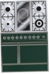 ILVE QDC-90V-MP Green Kitchen Stove, type of oven: electric, type of hob: combined