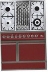 ILVE QDC-90B-MP Red Kitchen Stove, type of oven: electric, type of hob: combined