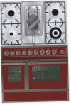 ILVE QDC-90RW-MP Red Kitchen Stove, type of oven: electric, type of hob: combined