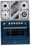 ILVE MT-90VD-VG Blue Kitchen Stove, type of oven: gas, type of hob: combined