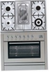 ILVE PL-90R-MP Stainless-Steel Kitchen Stove, type of oven: electric, type of hob: gas