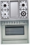 ILVE P-90FL-VG Stainless-Steel Kitchen Stove, type of oven: gas, type of hob: gas